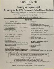 Training For Empowerment: Preparing for the 1992 Community School Board Elections