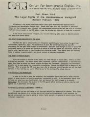 Fact Sheet No. 1 - The Legal Rights of the Undocumented Immigrant