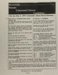 Wanted: Parents, Concerned Citizens, Candidates for the May 4, 1993 Community School Board Elections
