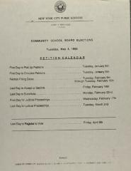 Community School Board Elections - Petition Calendar