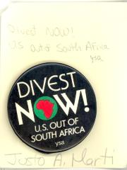 Button: Divest Now! U.S. Out of South Africa