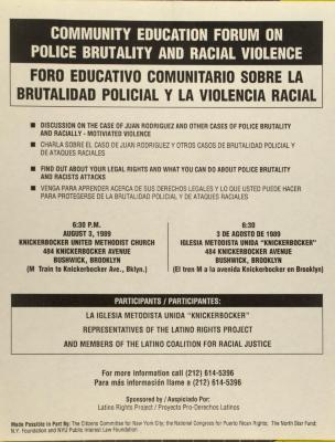 Community Education Forum on Police Brutality and Racial Violence / Foro Educativo Comunitario Sobre La Brutalidad Policial Y La Violencia Racial