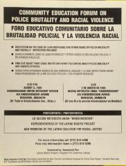 Community Education Forum on Police Brutality and Racial Violence / Foro Educativo Comunitario Sobre La Brutalidad Policial Y La Violencia Racial