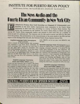 The News Media and the Puerto Rican Community in New York City