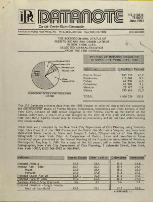 The Socioeconomic Status of Puerto Ricans and Other Latinos in New York City: Selected Characteristics From The 1980 Census