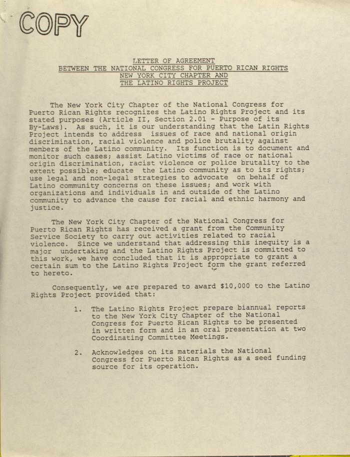 Letter of Agreement Between the National Congress for Puerto Rican Rights New York City Chapter and The Latino Rights Project