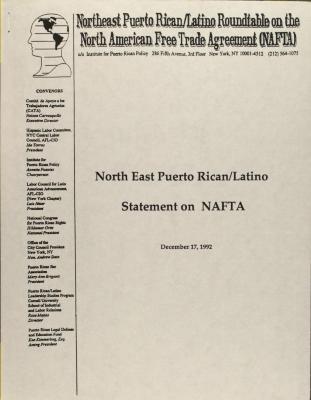 Northeast Puerto Rican/Latino Statement on NAFTA