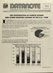 The Distribution of Puerto Ricans and Other Selected Latinos in the U.S.: 1990