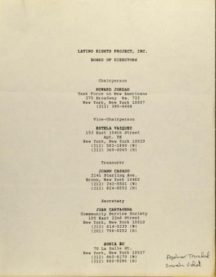 Latino Rights Project, Inc. - Board of Directors