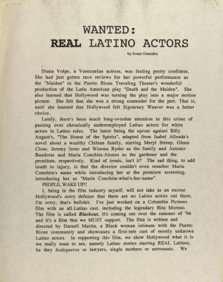 Wanted: Real Latino Actors