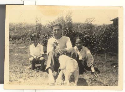 Gus, Uncle Dan, Bernard, and Manchao the dog