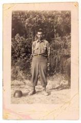 Daniel Camacho in his World War II service uniform in a field