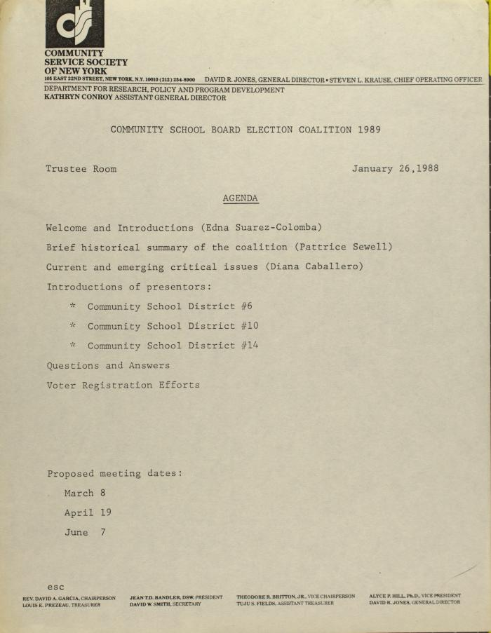 Community School Board Election Coalition 1989 - Agenda