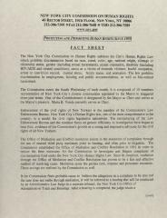 New York City Commission on Human Rights - Fact Sheet