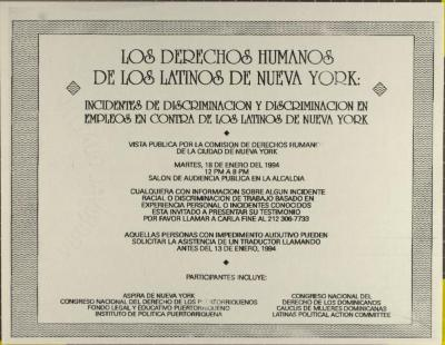 Los Derechos Humanos de Los Latinos de Nueva York / The Human Rights of Latino New Yorkers