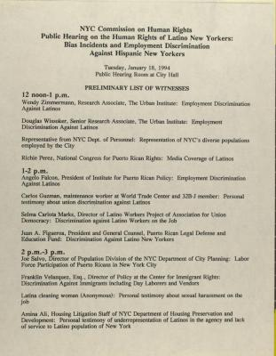 The New York City Commission on Human Rights Public Hearing on the Human Rights of Latino New Yorkers: Bias Incidents and Employment Discrimination Against Hispanic New Yorkers
