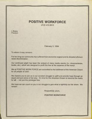 Correspondence from Positive Workforce