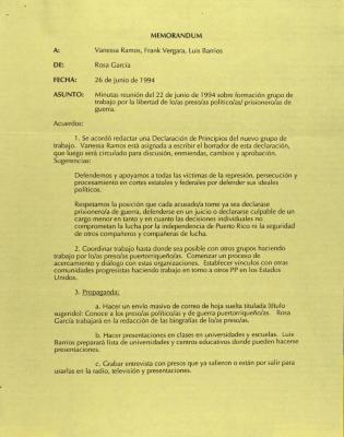 Correspondence from Rosa Garcia