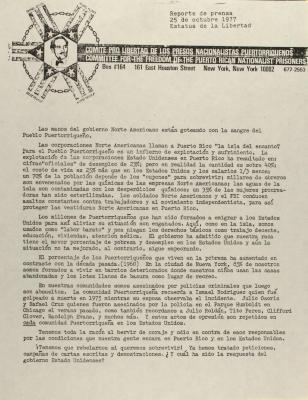 Committee For the Freedom of the Puerto Rican Nationalist Prisoners / Comite Pro Libertad de los Presos Nacionalistas Puertorriqueños