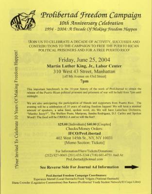 ProLibertad Freedom Campaign - 10th Anniversary Celebration