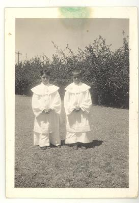 Larry Camacho and relative dressed in religious clothing