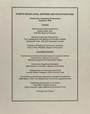 Puerto Rican Legal Defense & Education Fund - Community Lawyering Perspectives - Program