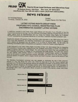 Latino Voting Rights Group Finds Proposed NYC Council Redistricting Plan Discriminates Against Latino Voters