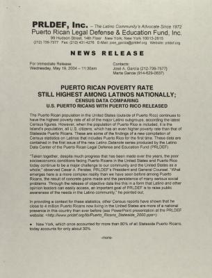 Puerto Rican Poverty Rate Still Highest Among Latinos Nationally: Census Data Comparing U.S. Puerto Ricans with Puerto Rico Released