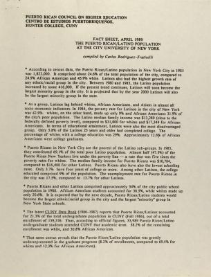 Fact Sheet, April 1989: The Puerto Rican Latino Population at the City University of New York