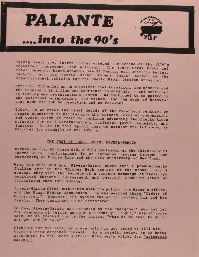 Palante . . . into the 90's