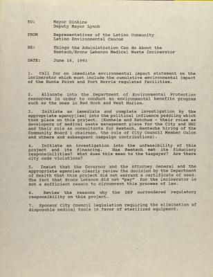 Correspondence to New York City Mayor David Dinkins