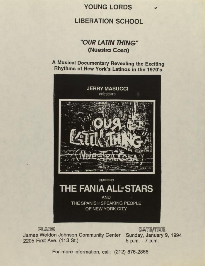 """""""Our Latin Thing"""" (Nuestra Cosa): A Musical Documentary Revealing the Exciting Rhythms of New York's Latinos in the 1970s"""
