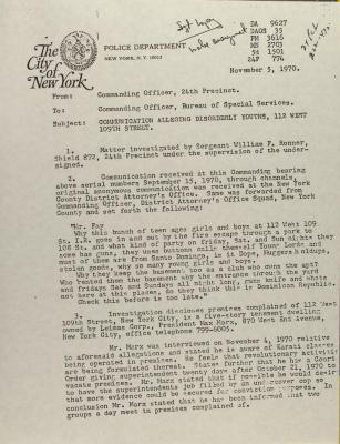 Correspondence from Special Services Division of the NYPD