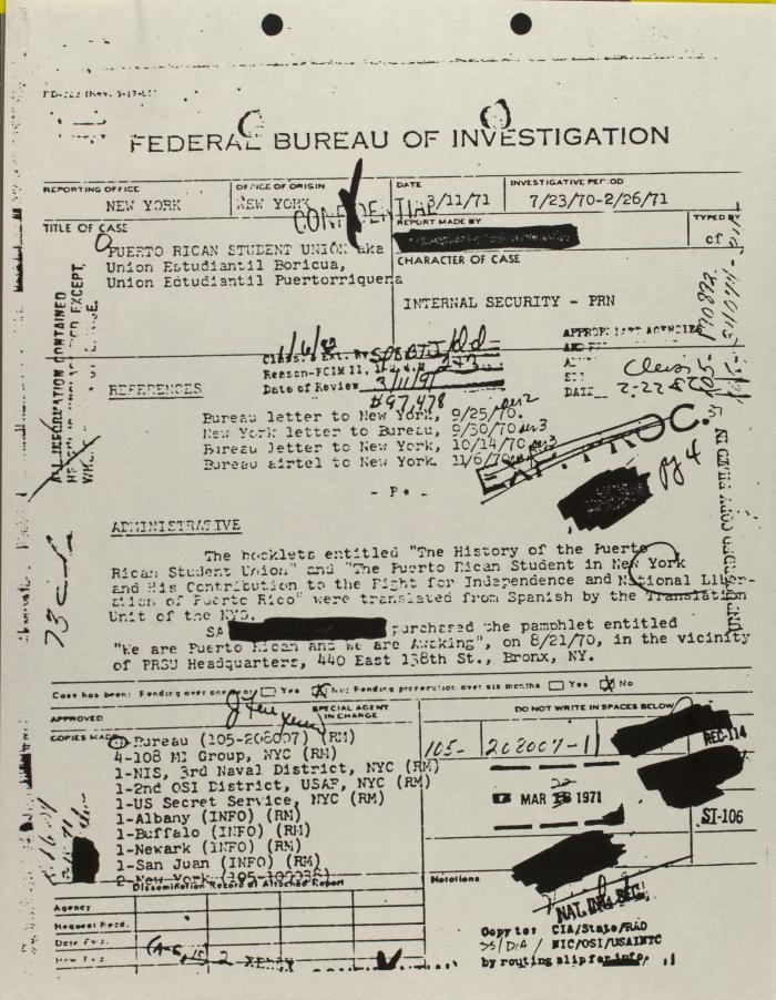 FBI Report on Puerto Rican Student Union