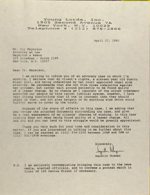 Correspondence from Young Lords, Inc.