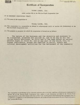 Young Lords, Inc. - Certificate of Incorporation