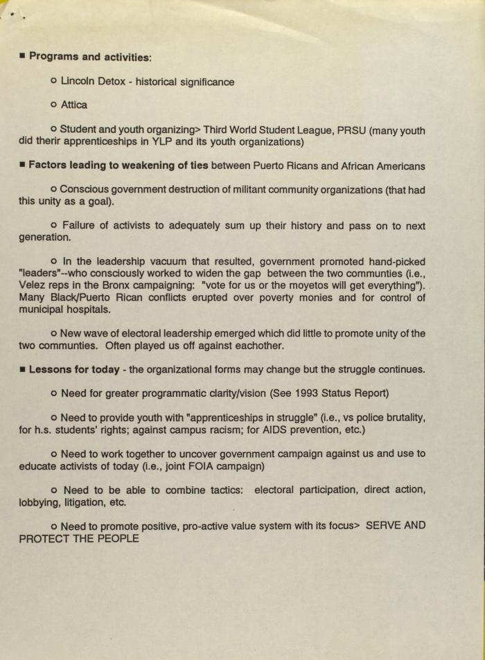 Programs and Activities of the Young Lords Party
