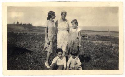 Blase Camacho, Mary Robello, Minnie Camacho, Bernard Camacho, and August Camacho before their first plane trip