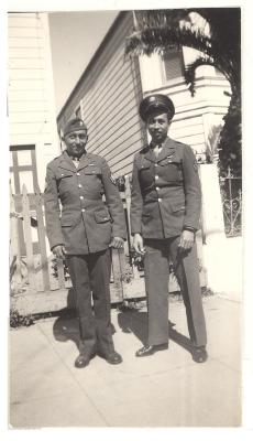 Daniel Camacho and friend in their service uniform after World War II