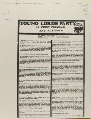Young Lords Party - 13 Point Program and Platform
