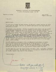 Correspondence from Memorial University of Newfoundland