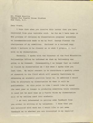 Correspondence from Annabelle Irizarry