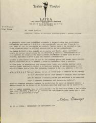 Correspondence from LATEA (Latin American Theatre Experiment Associated)