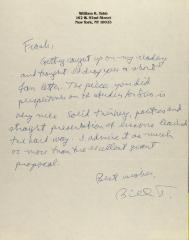 Correspondence from William K. Tabb