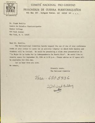 Correspondence from Comité Nacional Pro-Libertad Prisioneros de Guerra Puertorriqueños
