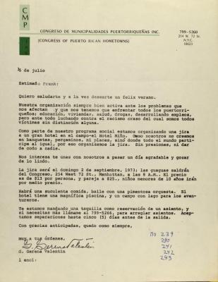 Correspondence from Congreso De Municipalidades Puertorriqueñas