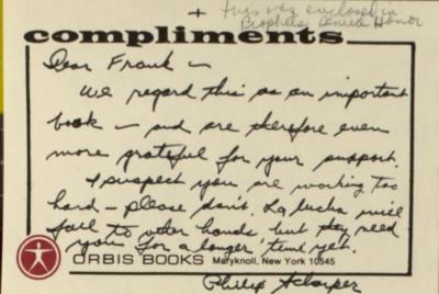 Correspondence from Orbis Books