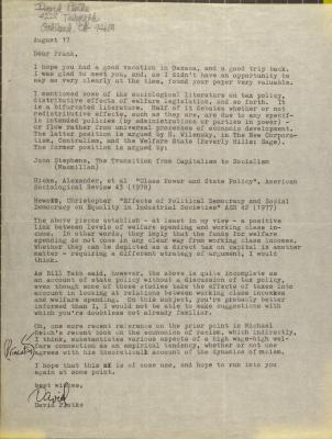 Correspondence from David Protke