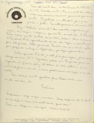 Correspondence from UNICAMP Universidade Estadual de Campinas