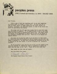 Correspondence from Peoples Press